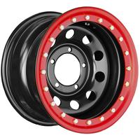 Диск усиленный стальной ORW чёрный 5x139,7 8xR16 d110 ET-24 с бедлоком (красный)