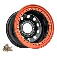 Диск усиленный стальной ORW чёрный 5x139,7 8xR16 d110 ET-3 с псевдобедлоком (оранжевый)