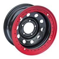 Диск усиленный стальной ORW чёрный 5x139,7 8xR16 d110 ET-19 с псевдобедлоком (красный)