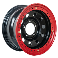 Диск усиленный УАЗ стальной черный 5x139,7 8xR16 d110 ET-19 с двойным бедлоком (красный)