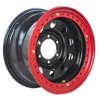 Диск усиленный стальной черный 6x139,7 8xR16 d110 ET-19 с двойным бедлоком (красный)