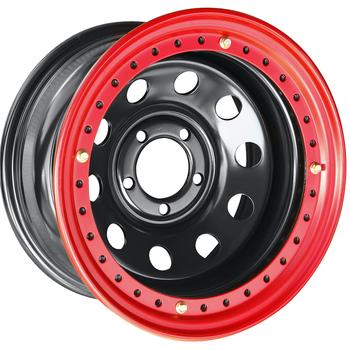Диск усиленный стальной ORW чёрный 5х114,3 8xR15 d84 ET-19 с бедлоком (красный)