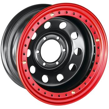 Диск усиленный стальной ORW чёрный 6x139,7 8xR16 d110 ET-19 с бедлоком (красный)